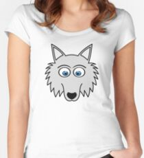 Sweet Cute Lovely Wolf Comic Dog (Gift, Present) Women's Fitted Scoop T-Shirt
