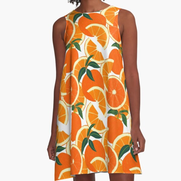 Orange Harvest - White A-Line Dress