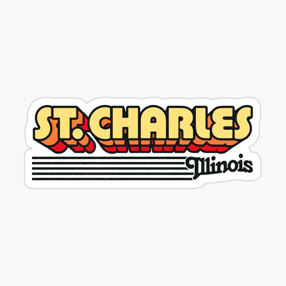 St. Charles, Illinois | Retro Stripes Sticker