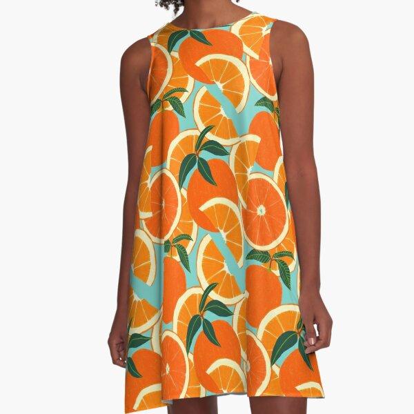 Orange Harvest - Blue A-Line Dress