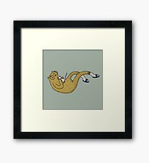 Floating cat with a mouse on green background Framed Print
