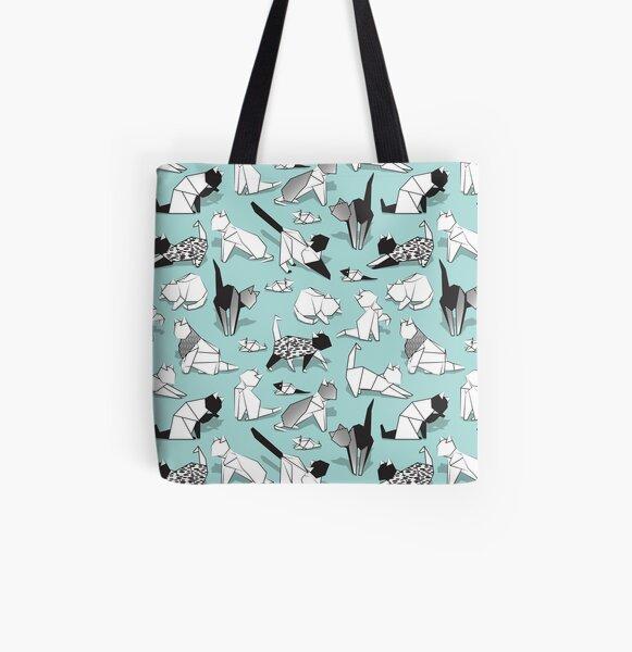 Origami kitten friends // aqua background paper cats All Over Print Tote Bag