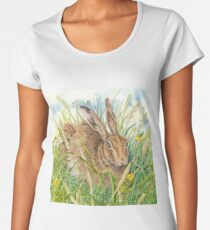 Brown Hare (acrylic on paper) Women's Premium T-Shirt