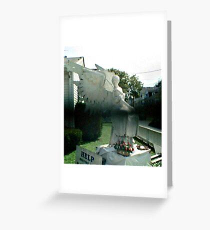 Strange Black Mist In Front of Angel Statue Greeting Card