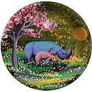 « bébé rhinocéros se promène avec maman » par Stiopic
