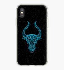 Blue Taurus Zodiac Sign in the Stars iPhone Case