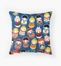 Babushka Russian doll vibrant pattern no2 Throw Pillow