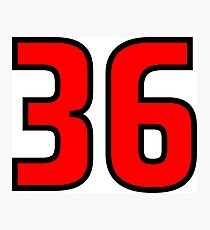 Red, Black Outline Number 36 Photographic Print