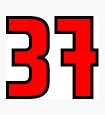 Red, Black Outline Number 37 Photographic Print