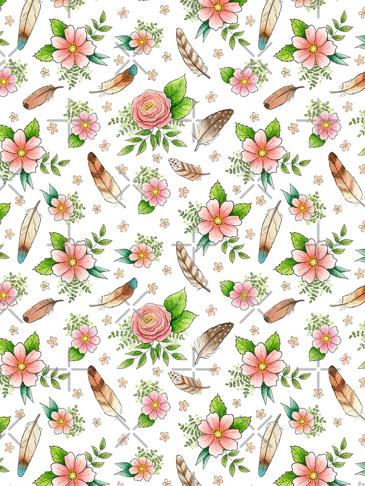 Feathers and Flowers pattern by HazelFisher