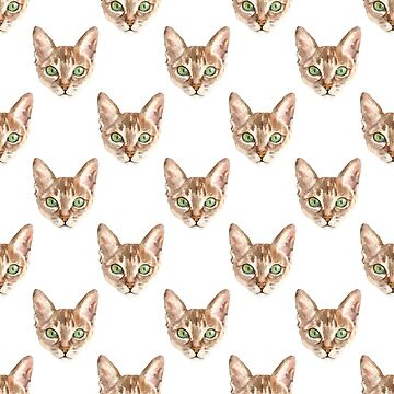 Cat Print Watercolor Kitty Cat Painting Pattern by JakeRhodes