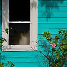 Turquoise Wall and Window, Matlacha, FL by Kent Nickell