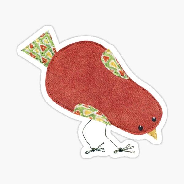 Funky little fabric art bird Sticker