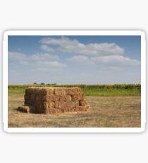 straw bale on field Sticker