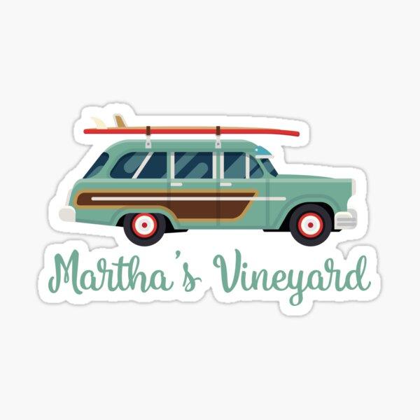 Martha's Vineyard Retro Beach Surf Wagon Sticker