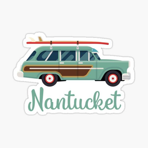 Nantucket Retro Beach Surf Wagon Sticker