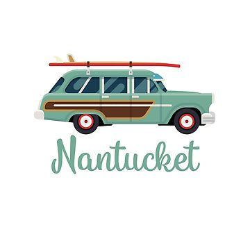 Nantucket Retro Beach Surf Wagon by awkwarddesignco