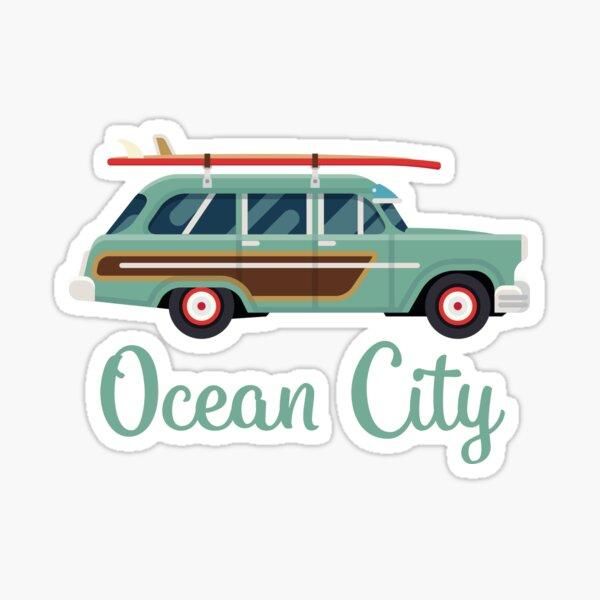 Ocean City Retro Beach Surf Wagon Sticker