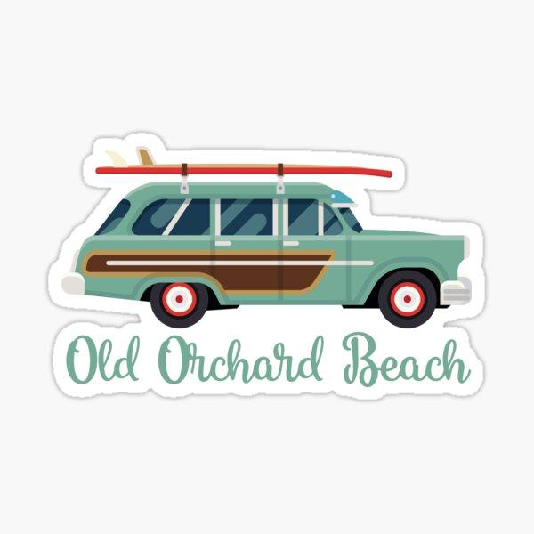 Old Orchard Beach Retro Surf Wagon Sticker