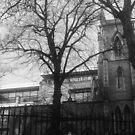 Church Behind Trees by karenuk1969