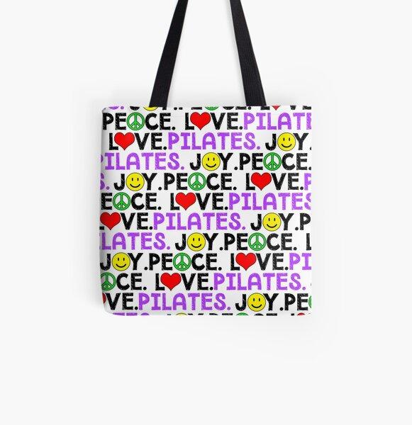 Peace Love Pilates Joy All Over Print Tote Bag