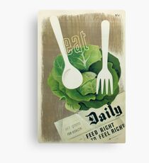 Eat Your Greens Health Vintage Poster Canvas Print