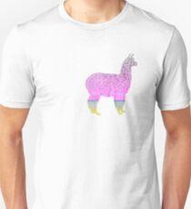 llama alpaca glitter blue green rosegold Unisex T-Shirt
