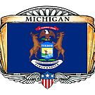 Michigan Art Deco Design with Flag by Cleave