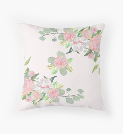 Floral Wreath Border III Throw Pillow