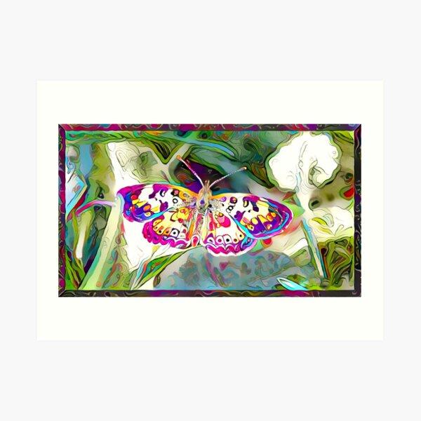 Redreaming Deep Dreamed Butterflies  Art Print