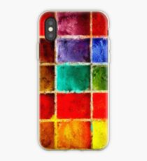 Colorful Tempera Oil Paint Art with Emergent Cube Effect Design iPhone Case