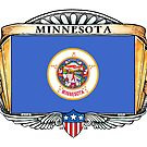 Minnesota Art Deco Design with Flag by Cleave
