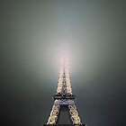 Eiffel tower lightning in fog by 64iso
