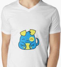 Cute Puppy Dog  - Blue Men's V-Neck T-Shirt