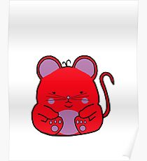Cute Mouse - Red Poster