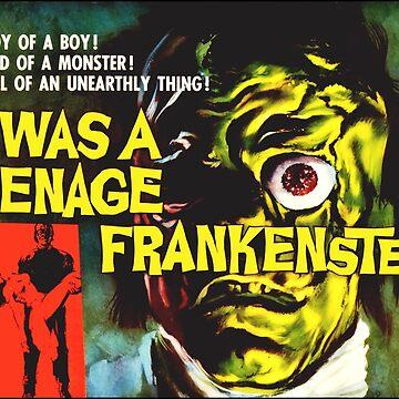 I was a Teenage Frankenstein - Retro Sci fi B Movie Poster by Antxoita
