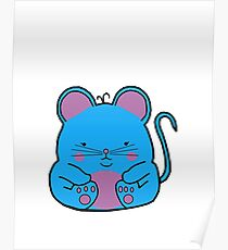 Cute Mouse - Blue Poster