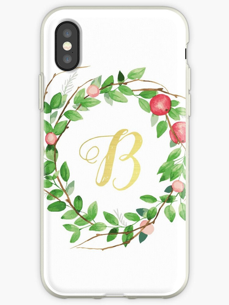 Apple Wreath Gold Initial B by atfoxplace