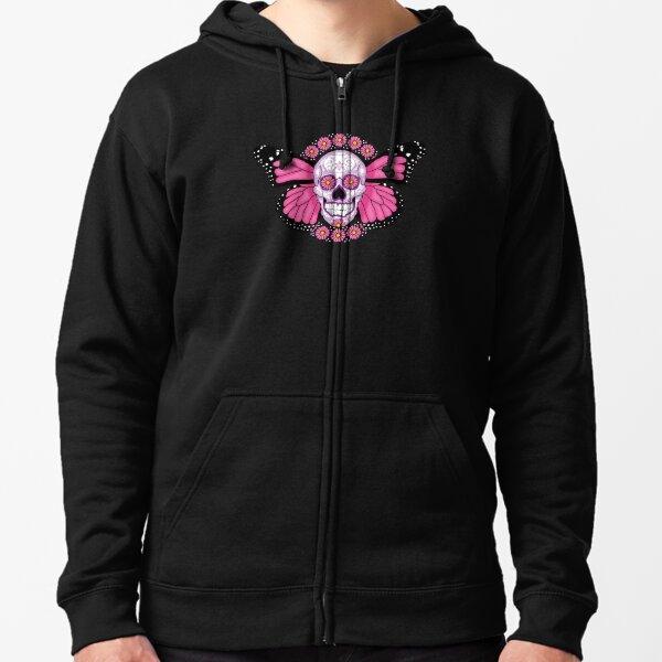 Pink Winged Sugar Skull Zipped Hoodie