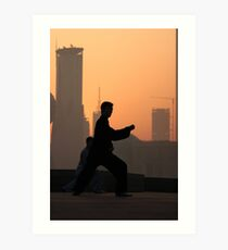 Early Morning Tai Chi (太极拳) on Shanghai's Bund Art Print