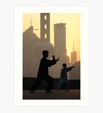 Group Tai Chi (太极拳) on Shanghai's Bund  Art Print