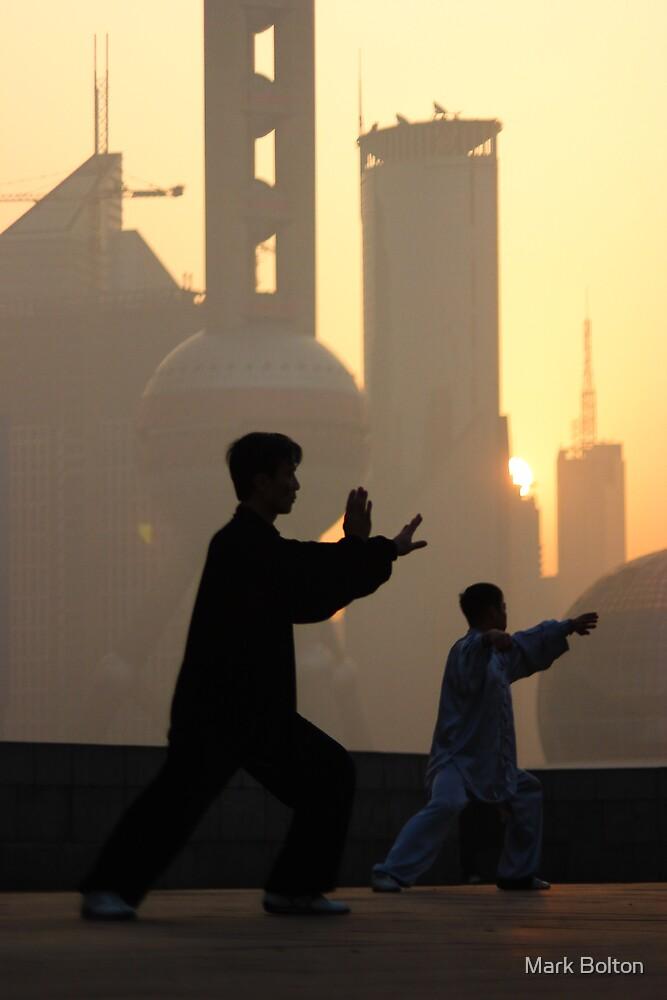 Group Tai Chi (太极拳) on Shanghai's Bund  by Mark Bolton