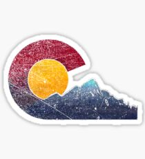 Colorado Flag Themed Mountain Scenery Sticker