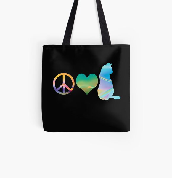 Peace, Love & Cats All Over Print Tote Bag