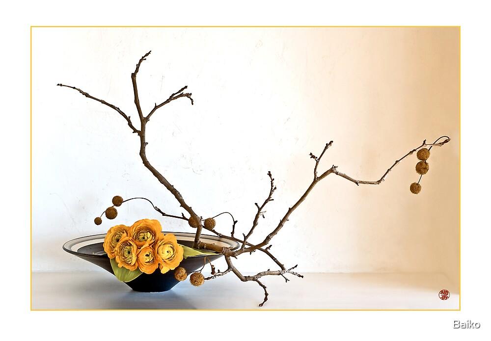 Ikebana-103 Greeting Card by Baiko