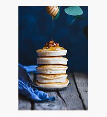 Stack of pancakes with honey and nuts. Photographic Print