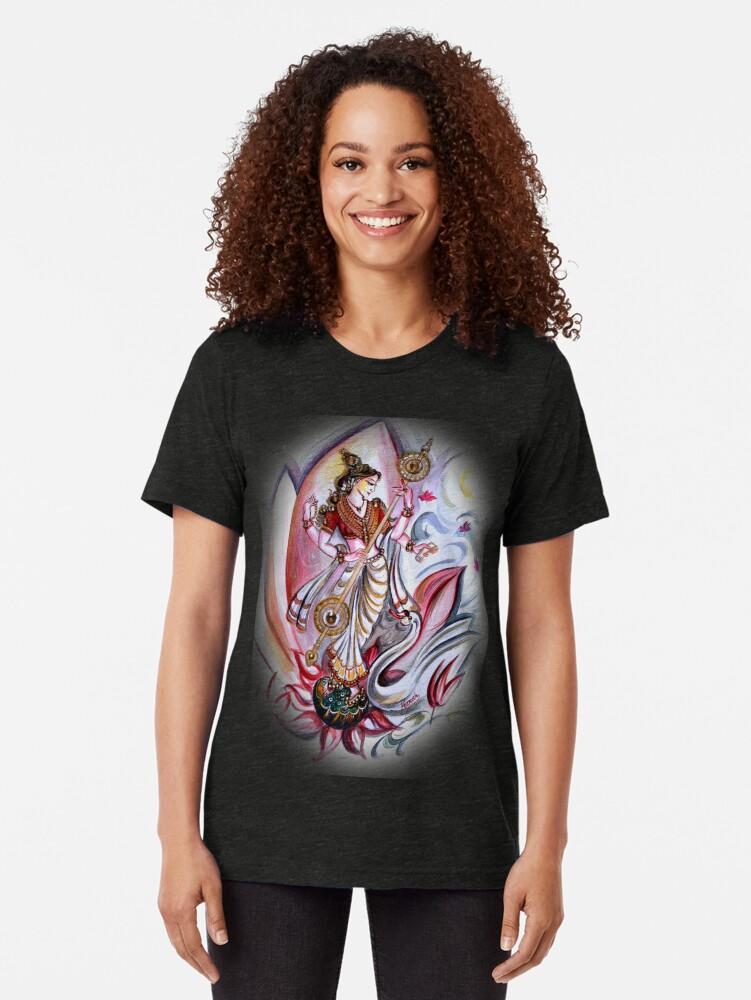 Alternative Ansicht von Musikalische Göttin Saraswati - Heilkunst Vintage T-Shirt