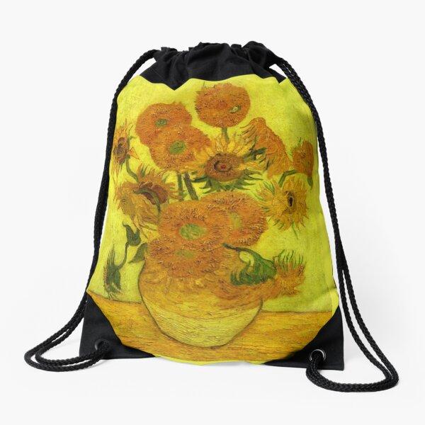 Van Gogh - Fourteen Sunflowers, 1889, famous painting Drawstring Bag