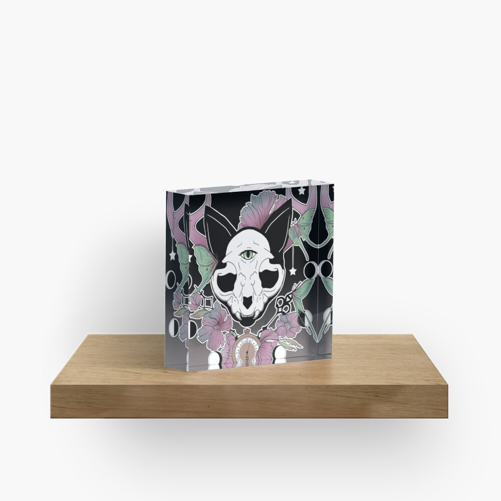 Twilight -- Skull Cat Acrylic Block