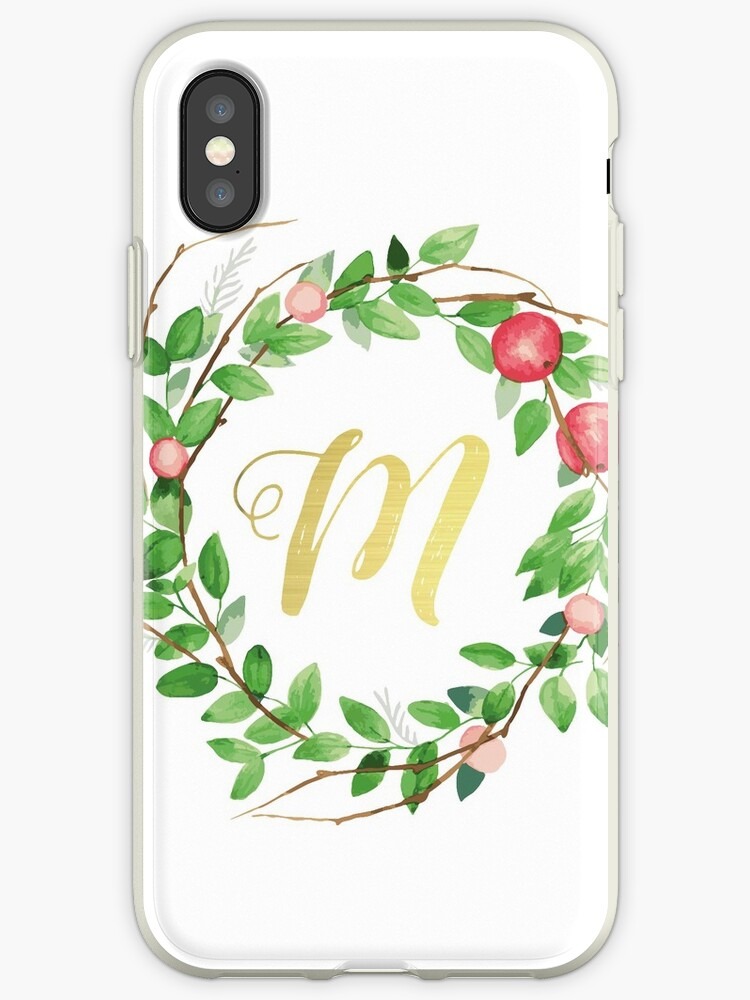 Apple Wreath Gold Initial M by atfoxplace